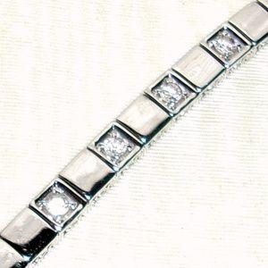 Jewelry - Silver Tone Squares Bracelet With 4 CZ's-Looks SO